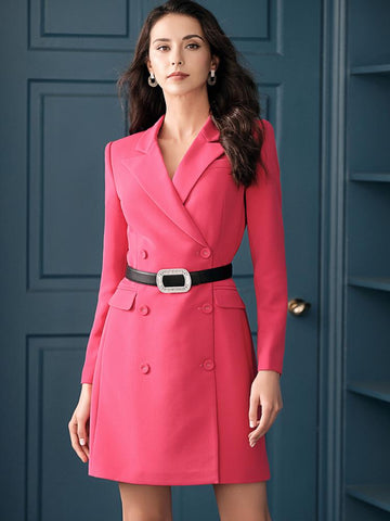 Fuchsia Double Breasted Fitted Blazer