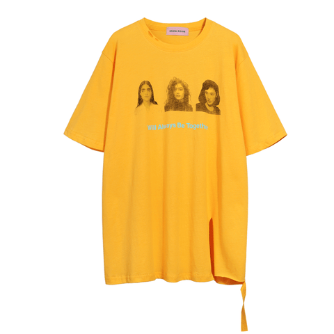 Free Size Print Crew Neck Loose T Shirt gallery 2