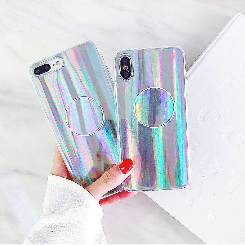 Laser Rainbow Gloss Sliver Phone Case For Iphone Soft Case With Holder