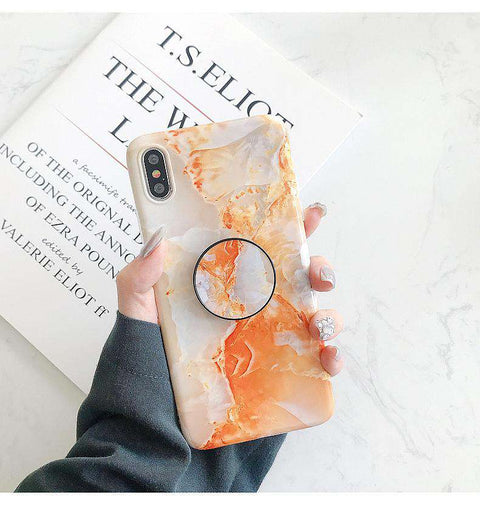 Orange Marble iPhone Case with Phone Holder