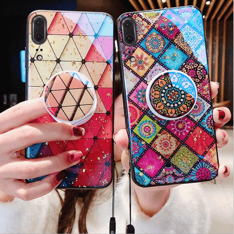Chic Geometric Anti-Fall Soft iPhone Case with Phone Holder and Hand Strap