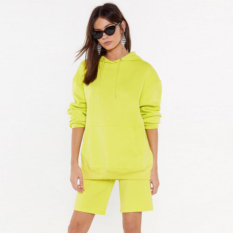 Neon Green Large Pocket Front Oversize Hoodie