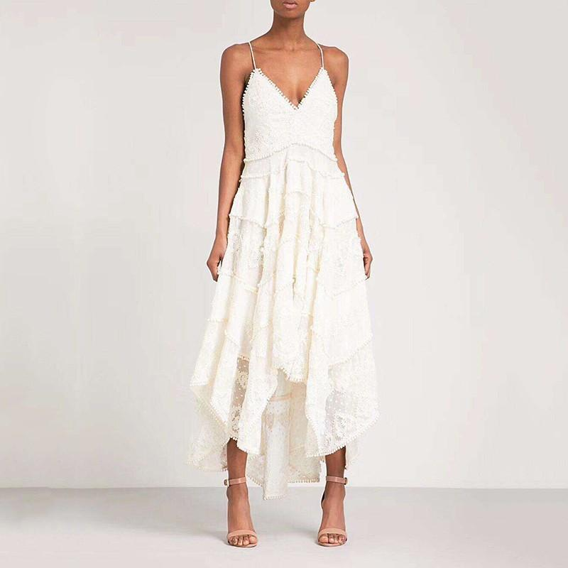 Lace V Neck Strappy Asymmetric Drape Mid-Long Dress