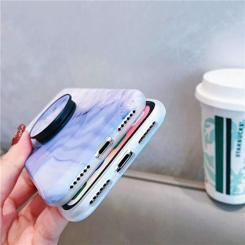 Colorful Marble Pattern Phone Case For Iphone With Phone Holder