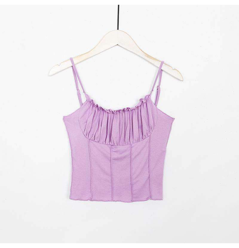 Candy Color With Ruched Side Front Cami Top