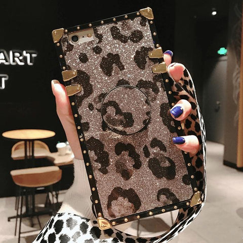 Luxury Leopard Pattern Phone Case for Samsung with Phone Holder and Hand Strap gallery 5