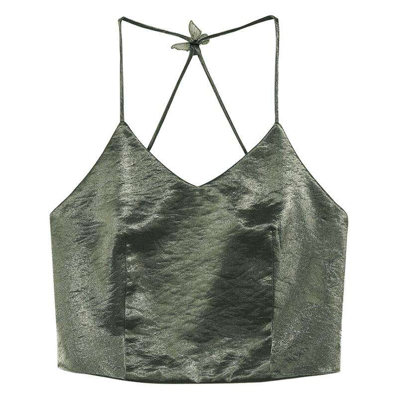 Green Satin V Neck Cami Top