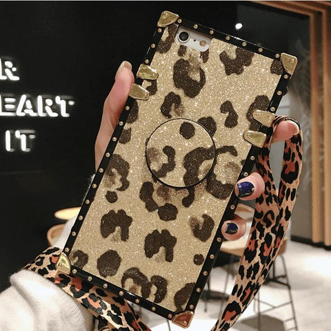Luxury Leopard Pattern Phone Case for Samsung with Phone Holder and Hand Strap gallery 3