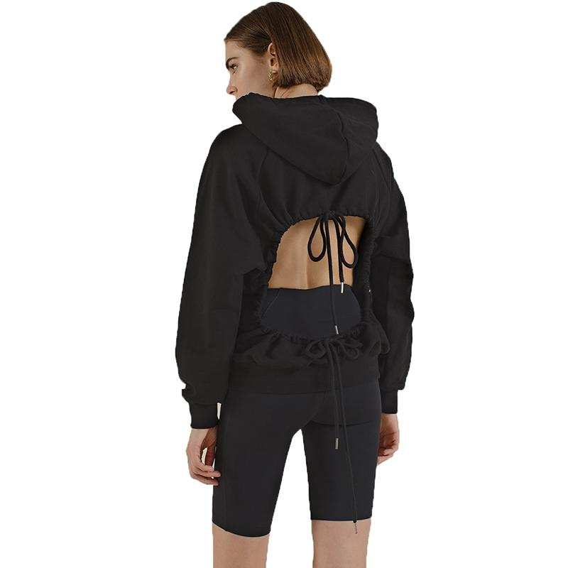 Backless Drawstring Solid Long Sleeve Hoodie