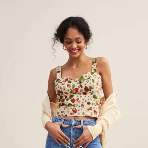 Strawberry and Flower Print Shirred Crop Top