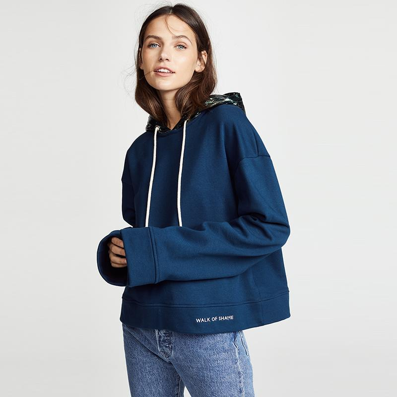 Casual Embroidered Letters Metallic Hoodie Sweatshirt