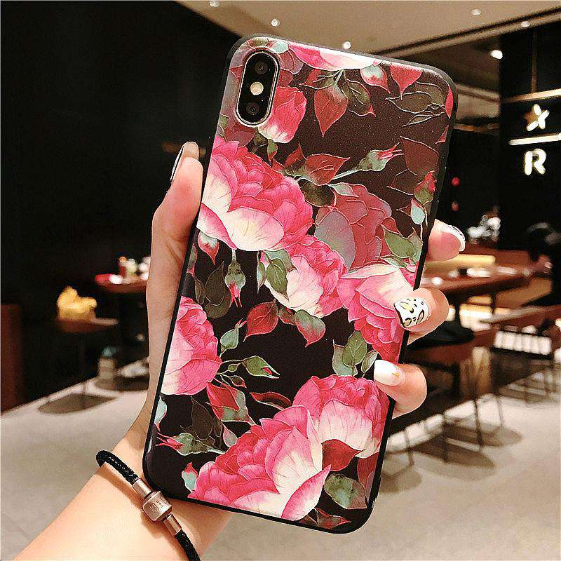 Retro Flower Pattern Emboss Effect Silicone Gel Soft Case For iPhone