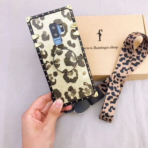 Luxury Leopard Pattern Phone Case for Samsung with Phone Holder and Hand Strap gallery 4