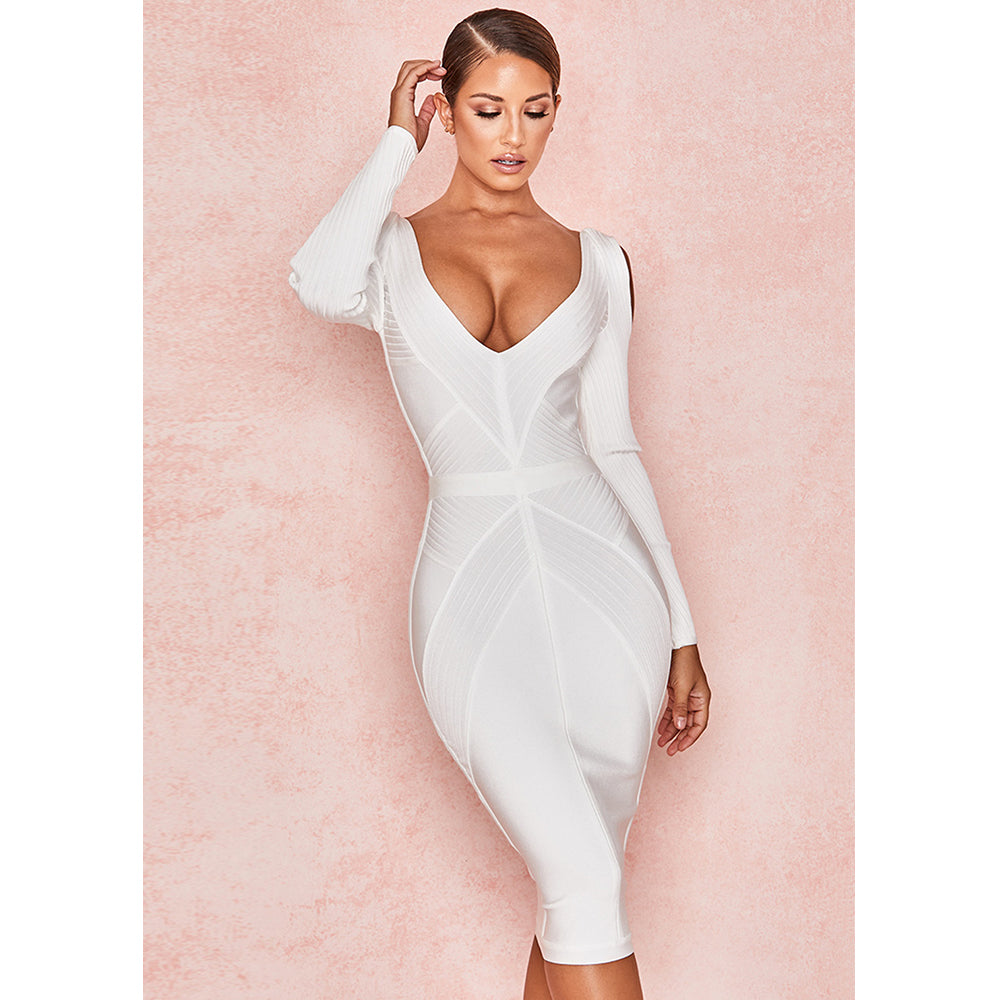 Long Sleeves Deep V Cut Detail Bandage Midi Dress