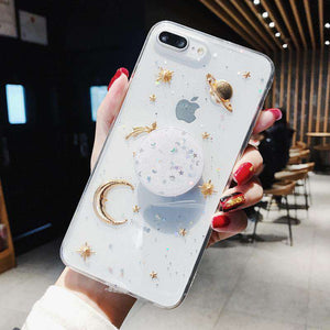 Luxury Transparent Golden Starry Night Pattern Soft iPhone Case