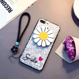 Flower Mirror iPhone Case with Hanging Rope