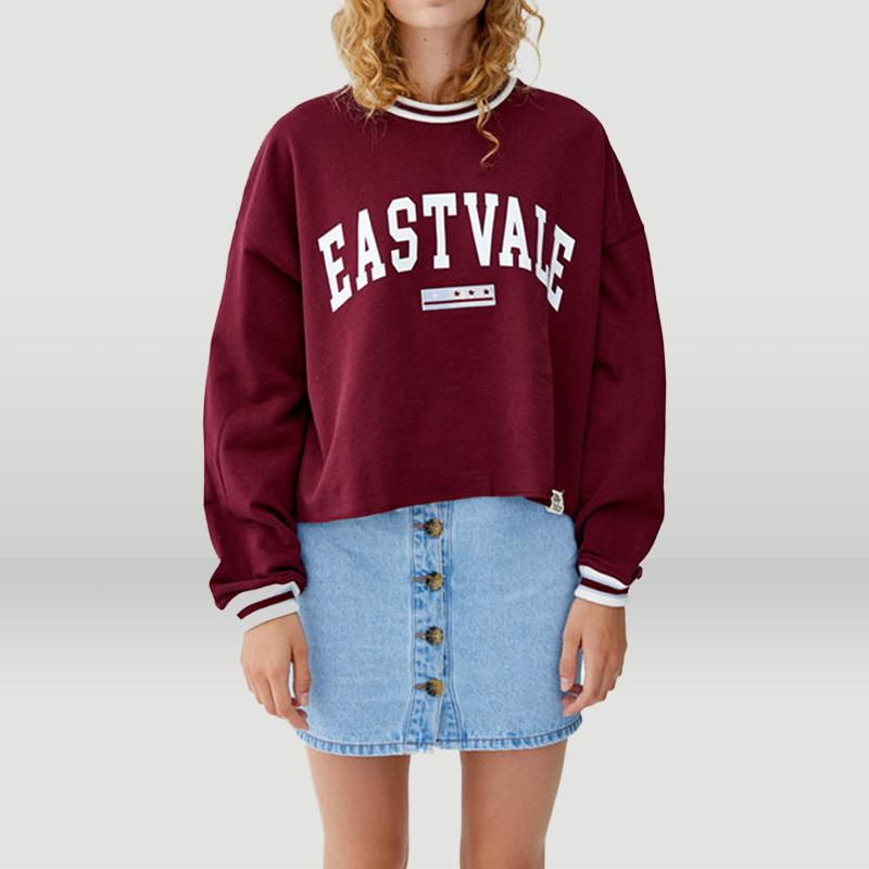 Casual Letter Print Crop Pullover