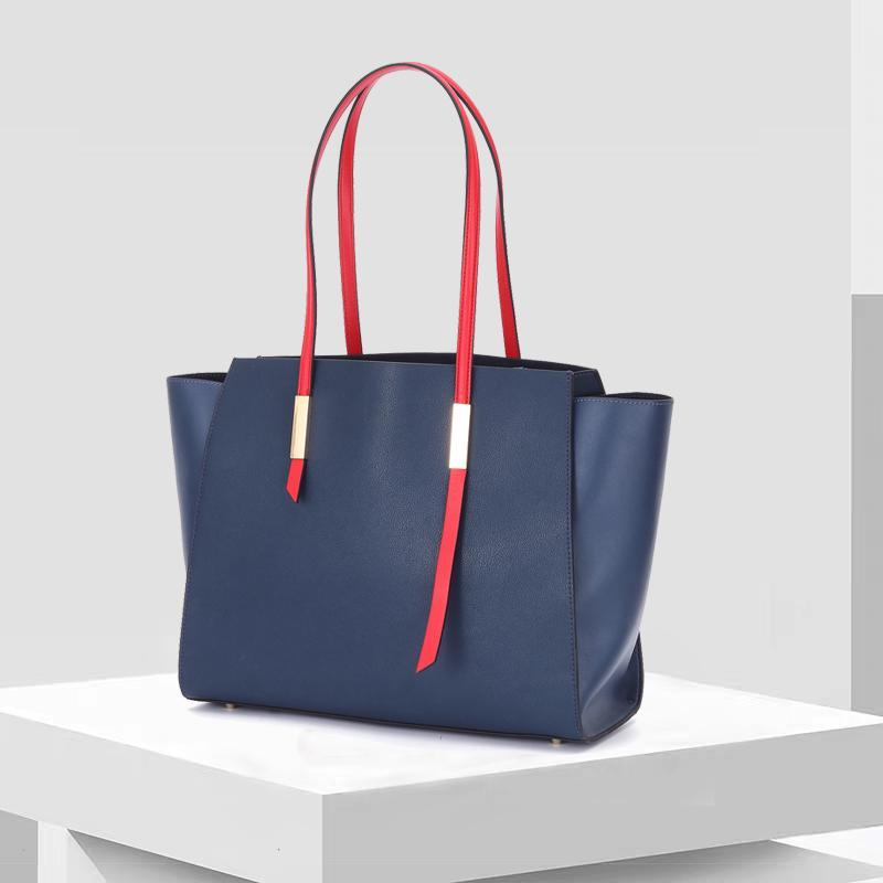 Contrast Color Leather Tote Bag