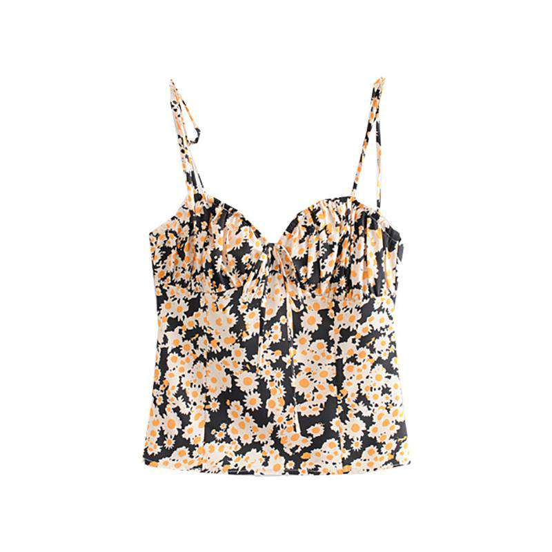 Summer Floral Tie Detail Cami Top
