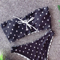 Dot Bandeau Bow Knot Front Bikini Set Swimsuit