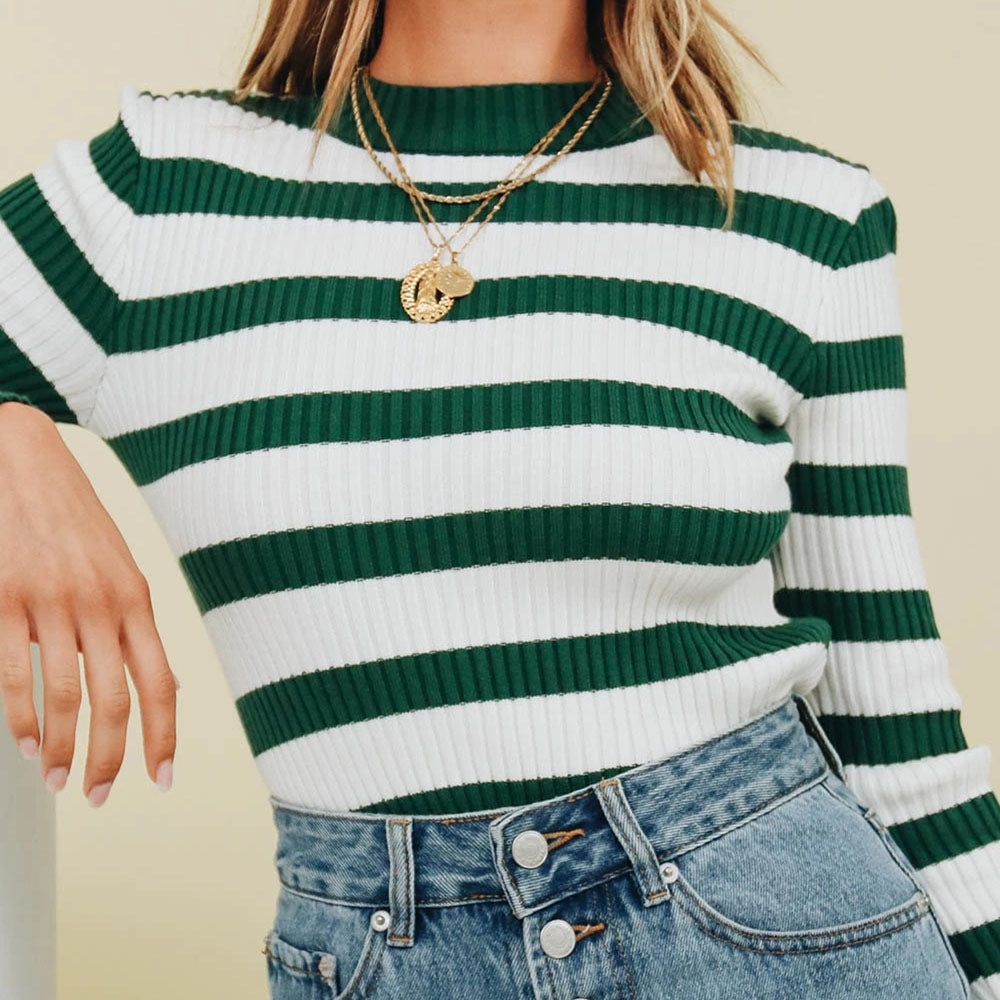 Green Striped Knitted Super Cropped Sweater
