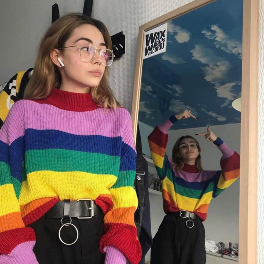 Rainbow  Roll Neck Cropped Jumper