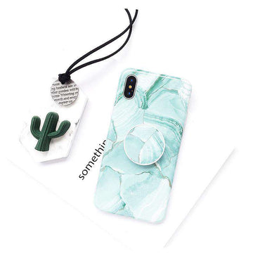 Korean Style Instagram Vibe Retro Mint Green Phone Case For iPhone With Holder