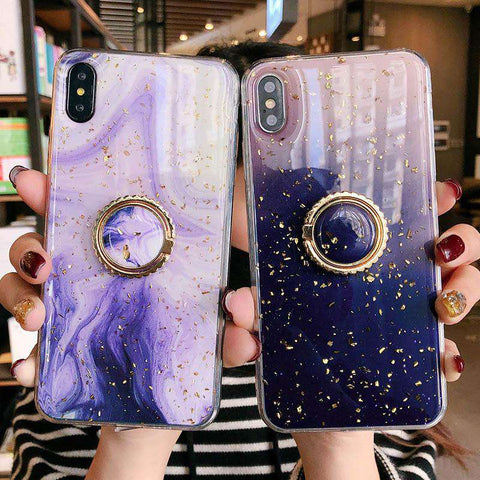 Silicone Gel Marble Pattern Phone Case With Gold Foil For IPhone With Ring