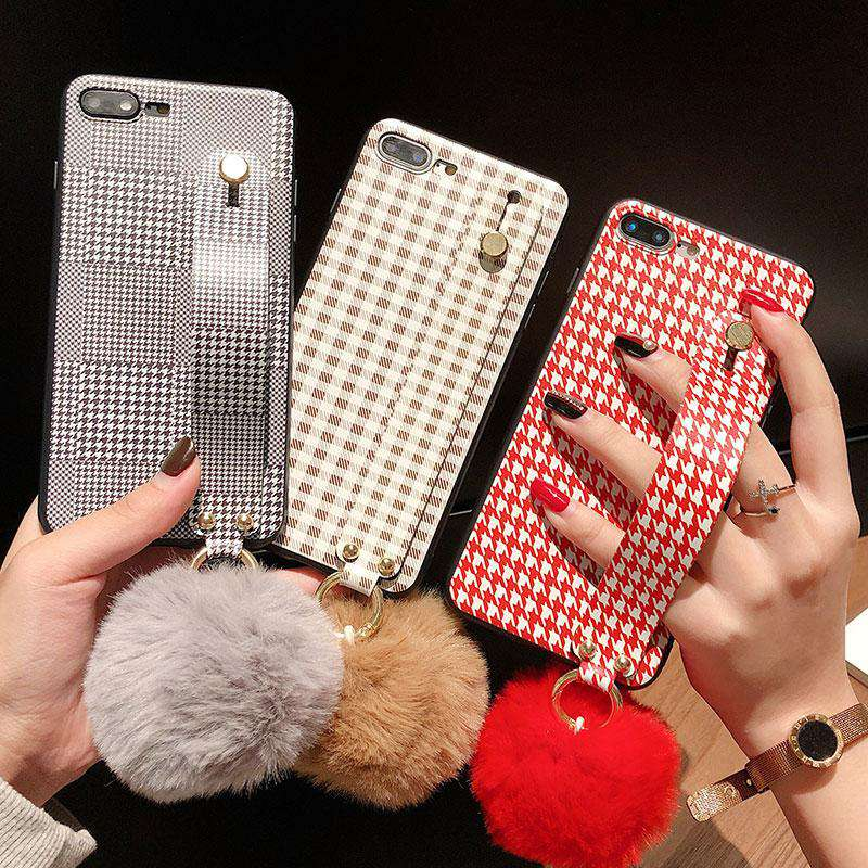 Retro Grid Pattern Lint Phone Case For Iphone With Holder And Fur Ball