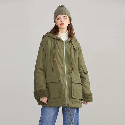 Army Green Overalls Cotton Fleece Hooded Jacket