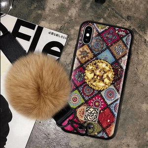 Glittery Diamond-Shaped Pattern Iphone Case with Phone Holder