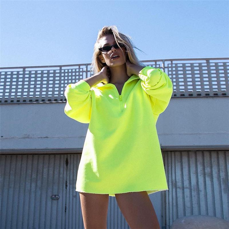 Casual Half Zippered Fluorescent Hoodie