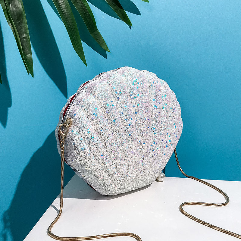 Shell Shape with Glitter Sequin Surface Shoulder Bag