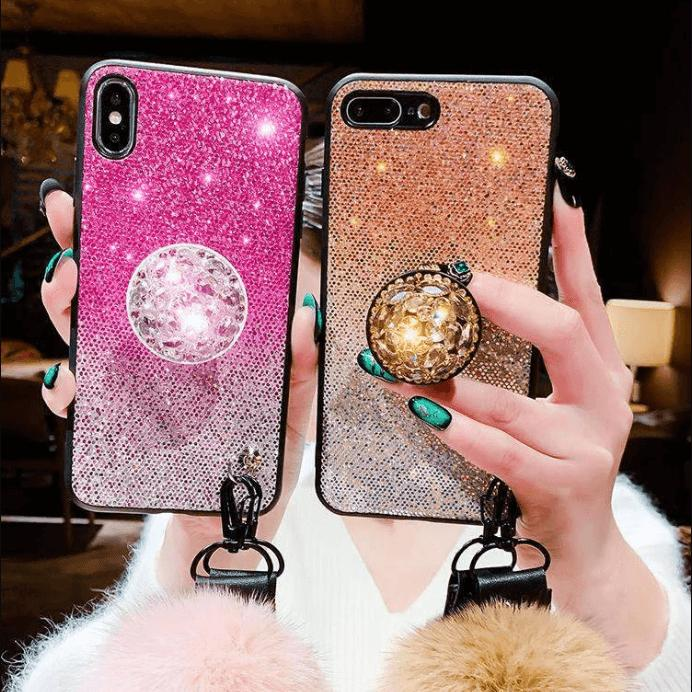 Glittering Design iPhone Case with Phone Holder and Pom-pom