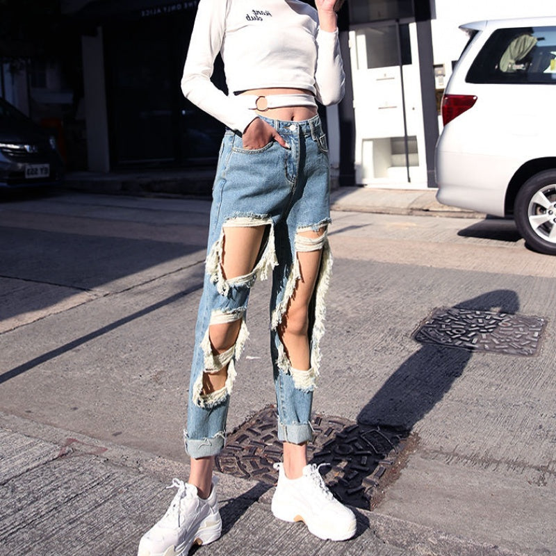 Loose Straight-barrel Ripped Mom Jeans