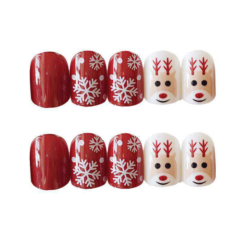 Winter Snowflake Reindeer Magic Press On Nail Manicure