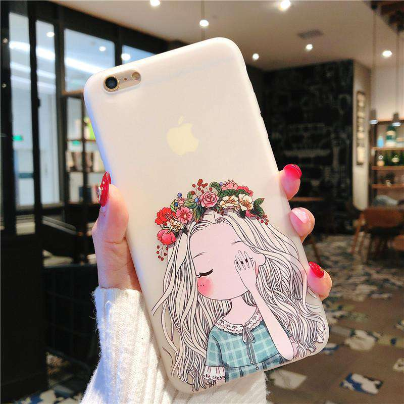 Korean Style Cute Little Girl With Flower Pattern Silicone Gel Soft Case For iPhone