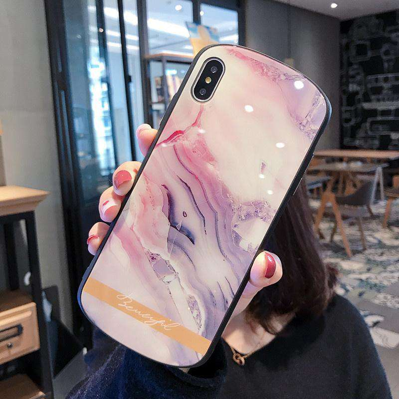 Luxury Marble Curved Design Soft Phone Case for Apple iPhone for Couple
