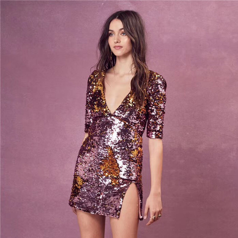 Sequins Deep V Side Split Mini Dress