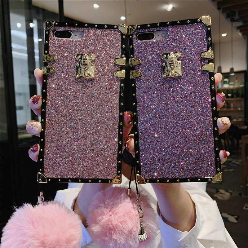 Luxury Blinking Square Phone Case for Samsung with Hand Strap and Pom-pom