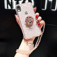 Creative Slim Transparent Silicone Gel Soft iPhone Case with Shining Phone Holder and Hand Strap
