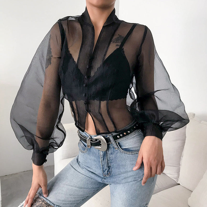 Button Front Sheer Mesh Puff Sleeve Top