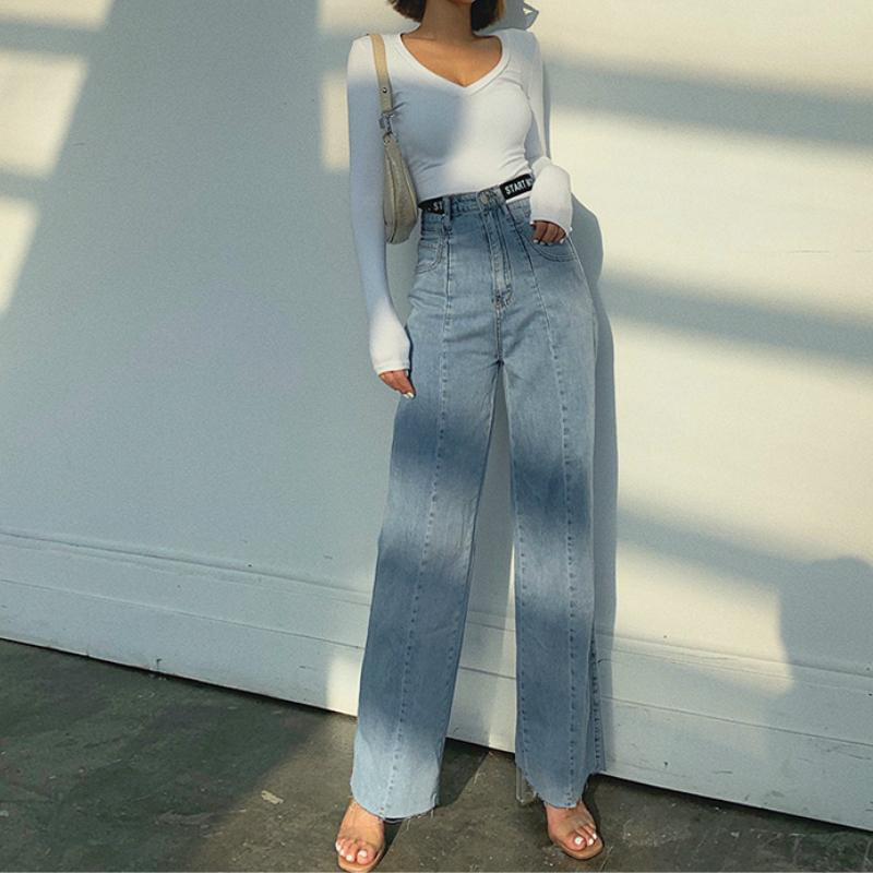 2 Colors High Rise Raw Hem Wide Leg Jeans