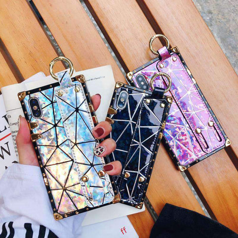 Chic Laser Full Cover Phone Case for Apple iPhone with Wristband