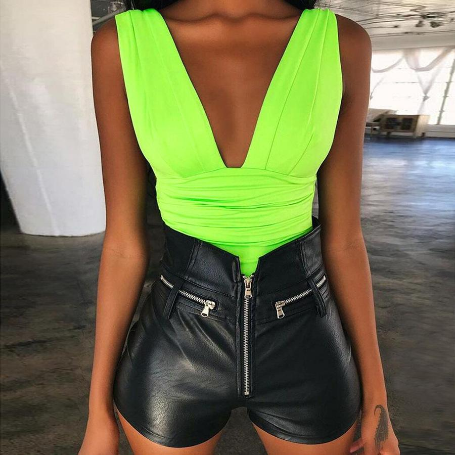 Deep V Ruched Bare Back Vest Bodysuit