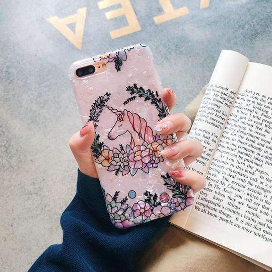 Cute Unicorn iPhone Case with Flower