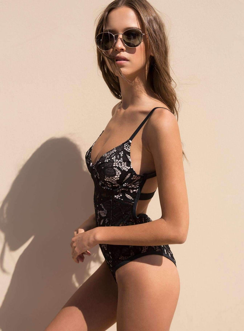 Black Lace Cami Bodysuit
