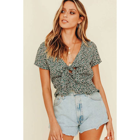 Plunging Knot Front Allover Print Top