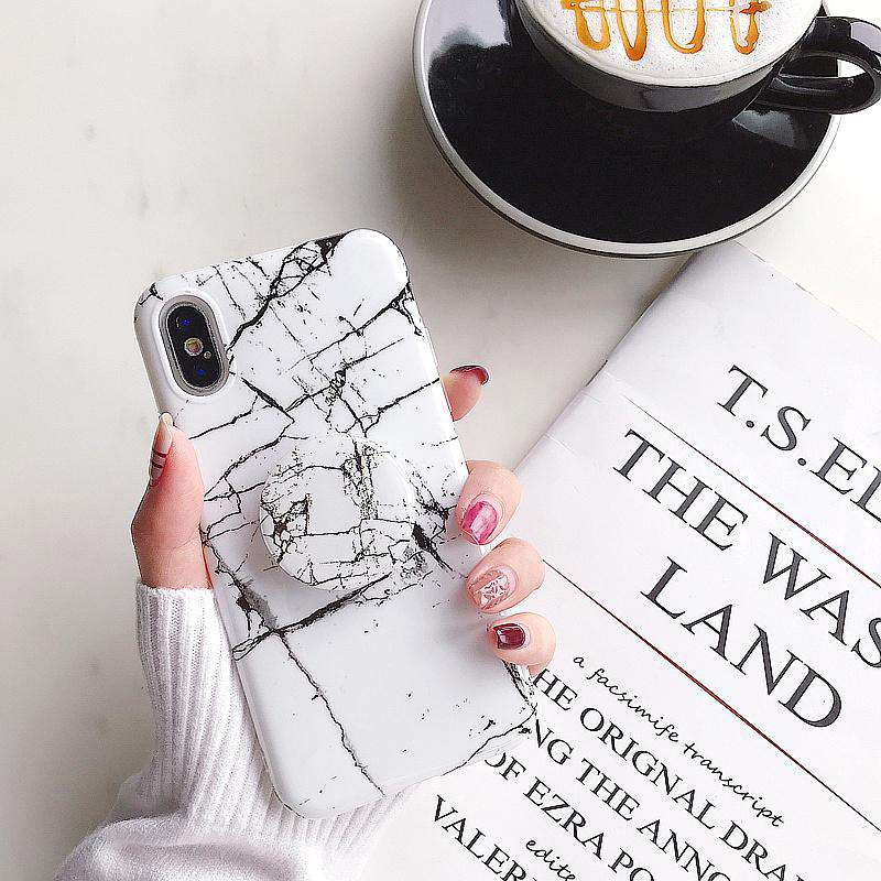 Minimalism Black And White Marble Pattern Silicone Gel iPhone Case With Phone Holder