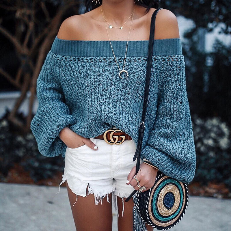 Sexy Off Shoulder Puff Sleeves Plain Open Knit Detail Sweater